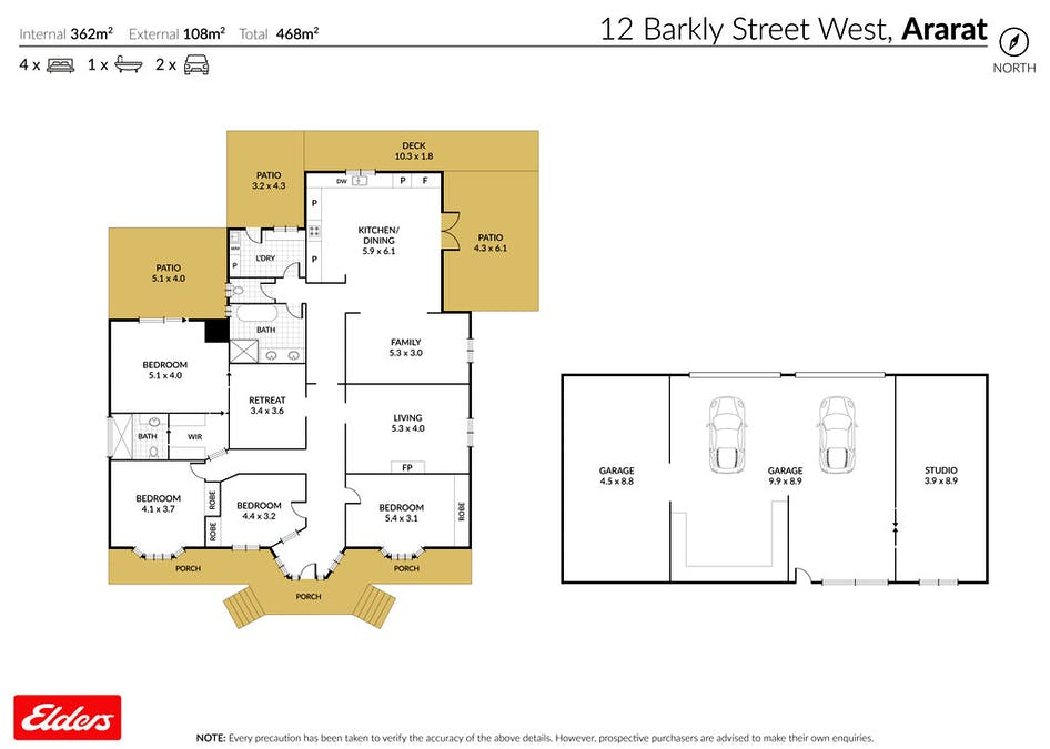 12 Barkly Street West, Ararat, VIC, 3377 - Floorplan 1