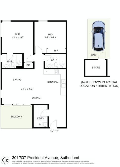 301/507 President Avenue, Sutherland, NSW, 2232 - Floorplan 1