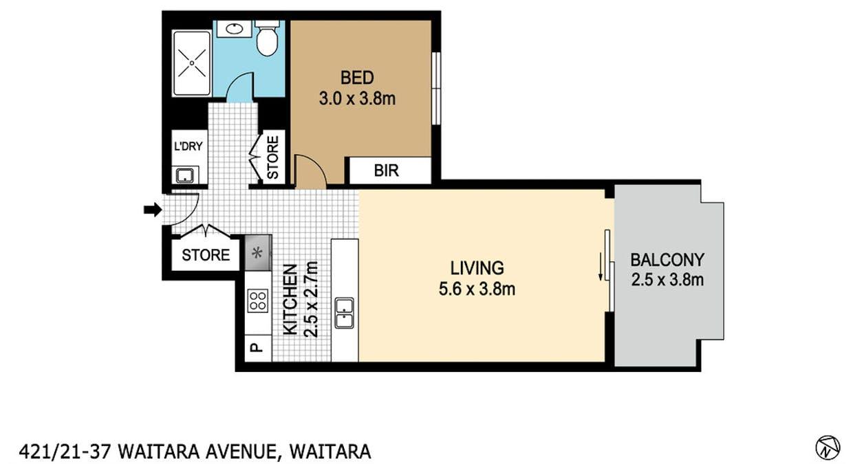 421/21-37 Waitara Avenue, Waitara, NSW, 2077 - Floorplan 1