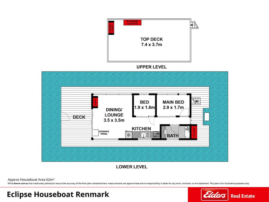 18 Ral Ral Moorings - Eclipse Houseboat, Renmark, SA, 5341 - Floorplan 1